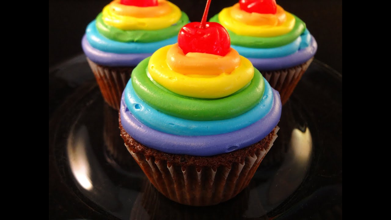 Rainbow Frosted Chocolate Cupcakes Collaboration With