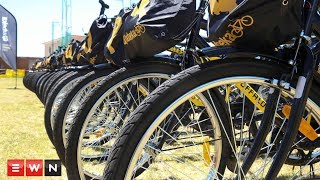 Professional riders handed over bicycles to children in Paarl outside Cape Town thanks to the Qhubeka programme.  Click here to subscribe to Eyewitness news: http://bit.ly/EWNSubscribe  Like and follow us on: http://bit.ly/EWNFacebook AND https://twitter.com/ewnupdates  Keep up to date with all your local and international news: www.ewn.co.za    Produced by: Cindy Archillies