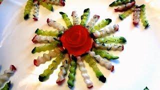 Как красиво нарезать овощи! Калибровочный нож! Украшения из овощей.