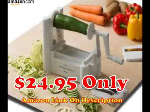 Kitchen Basics Tri Blade Turning Vegetable Slicer - YouTube