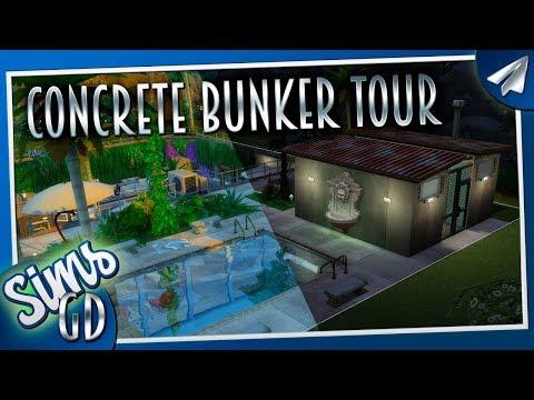 Sims 4 House Tour CC | Concrete Bunker Cinematic (Sims 4 Basement Build)