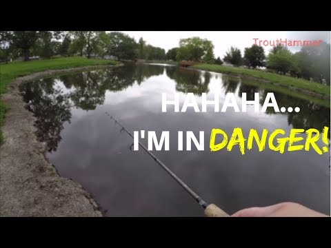 Urban Pond Fishing In A THUNDERSTORM - Giveaway Begins