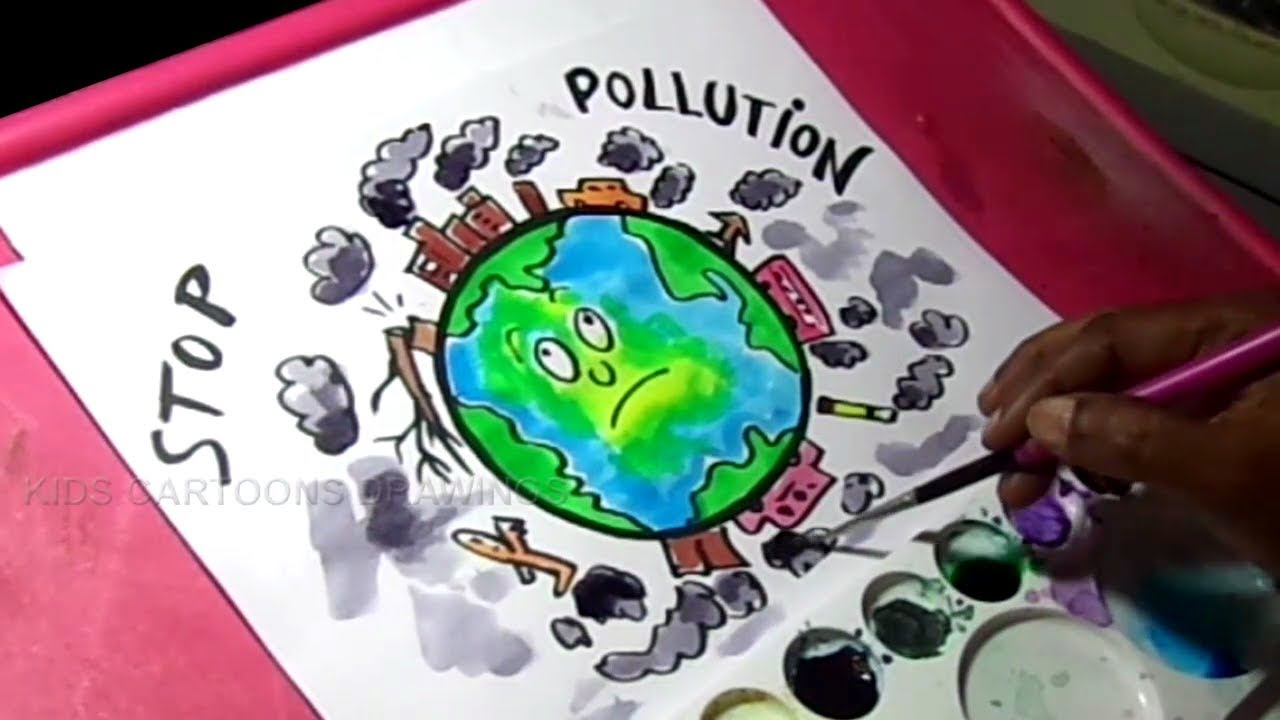 How to draw stop pollution color poster drawing for kids