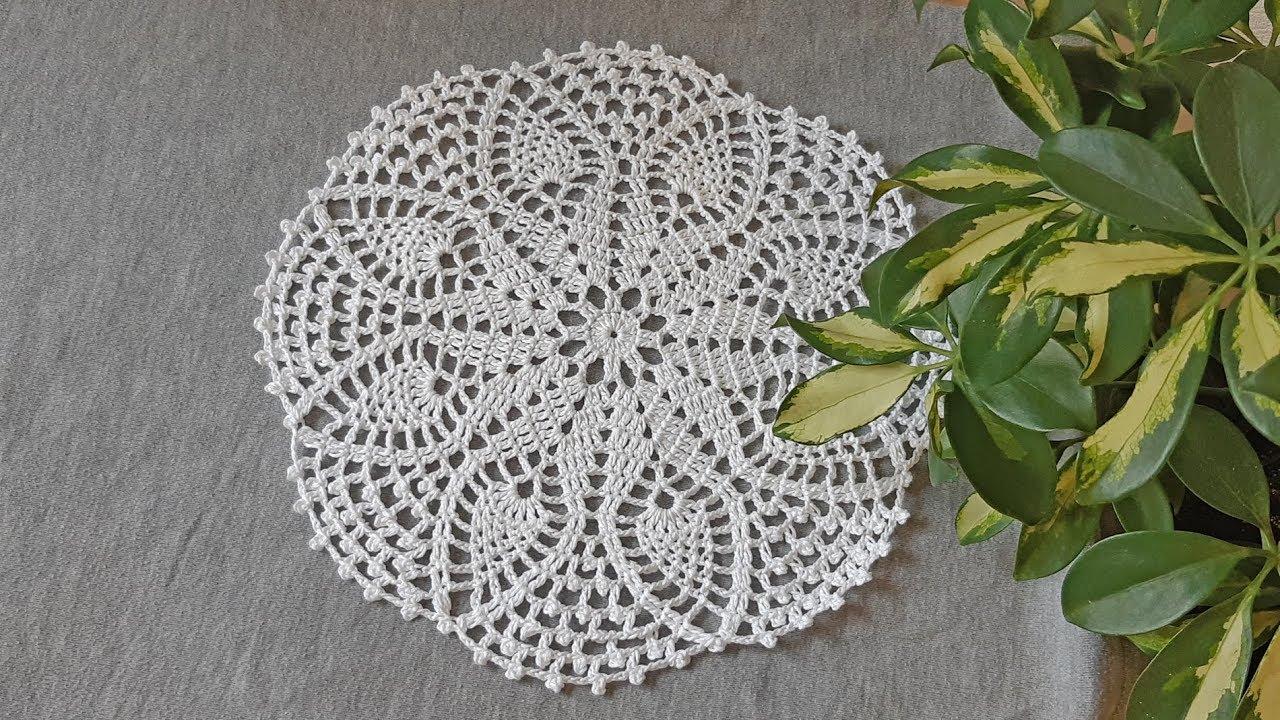 Вязание крючком круглой ажурной салфетки