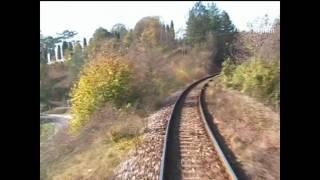 Train: Nové Mesto nad Váhom - Vrbovce, in driver cab. video 2