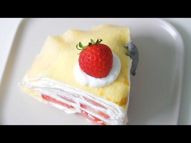 딸기 크레이프 케이크 만들기 Strawberry Crepe Cake Recipe | 한세 HANSE
