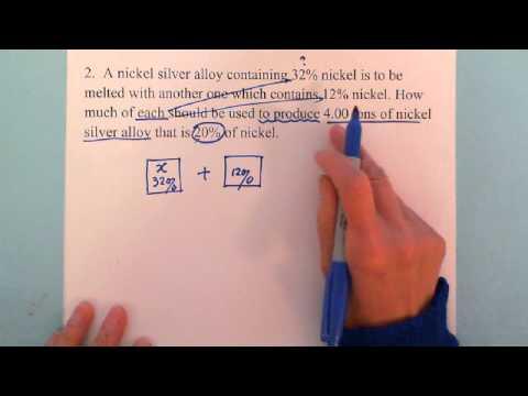 oxygen mixture story problem algebra 1