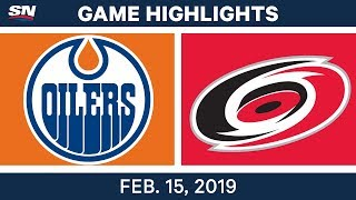 NHL Highlights | Oilers vs. Hurricanes - Feb 15, 2019