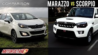 Mahindra Marazzo vs Mahindra Scorpio Comparison | Hindi | MotorOctane