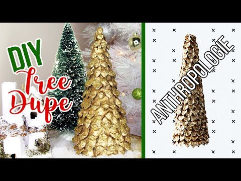DIY Gold Tabletop Christmas Tree | Anthropologie Dupe