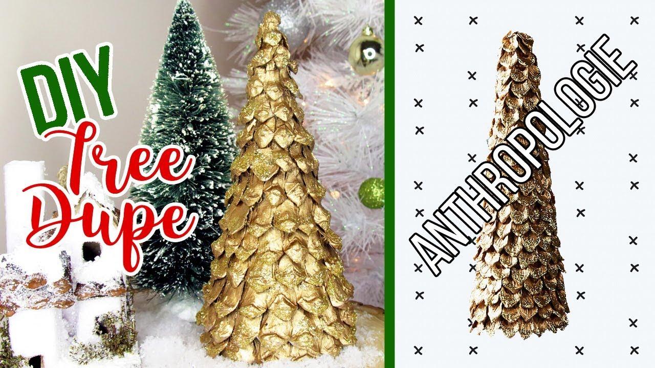 DIY Gold Tabletop Christmas Tree