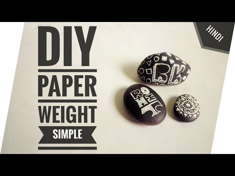 DIY | Paper Weight | Stones | Acrylic Colours | Black & White | Doodle | [Hindi]