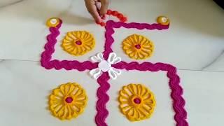 Beautiful Swastik Rangoli Design नवरात्रि में बनाए| Creative Rangoli Design Using Spoon Fork Bangles