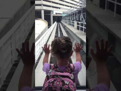 Evelyn riding shuttle at Tampa International airport