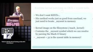 DEFCON 17: Runtime Kernel Patching on Mac OS X