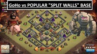 Clash of Clans-- GoHo 3 STAR POPULAR SPLIT WALLS BASE!! MAX TH9 Clan War Attack