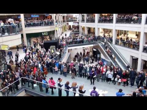 City of Leed Youth Orchestra (CLYO) flash mob at Trinity shopping center in Leeds, UK