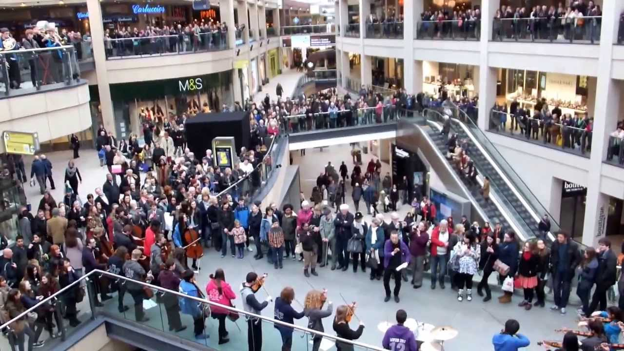 city of leed youth orchestra clyo flash mob at trinity shopping center in leeds uk youtube. Black Bedroom Furniture Sets. Home Design Ideas
