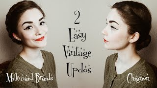 2 Easy Vintage Hairstyles | Hair Tutorial