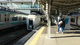 いわき駅発車シーン 普通列車富岡行651系K201編成 2019年1月2日 ※自動放送更新後