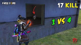 One vs Four Sad Game No Booyah but 17 Kill OverPower Gameplay - Garena Free Fire