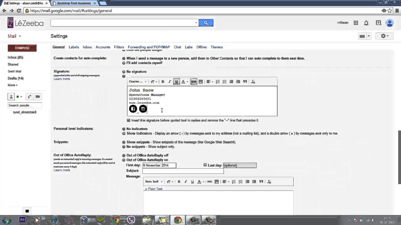 Add Signature & facebook icon to your email in gmail no html no ...
