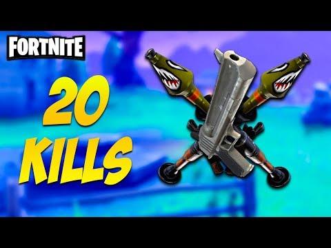 20 Kill Squads Pistol and Explosives ONLY - Fortnite Battle Royale (INSANE SHOTS)