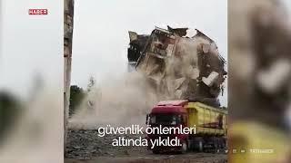 Bursa İnegöl'ün ilk fabrika binasının yıkımı TRT Haber kameralarına yansıdı