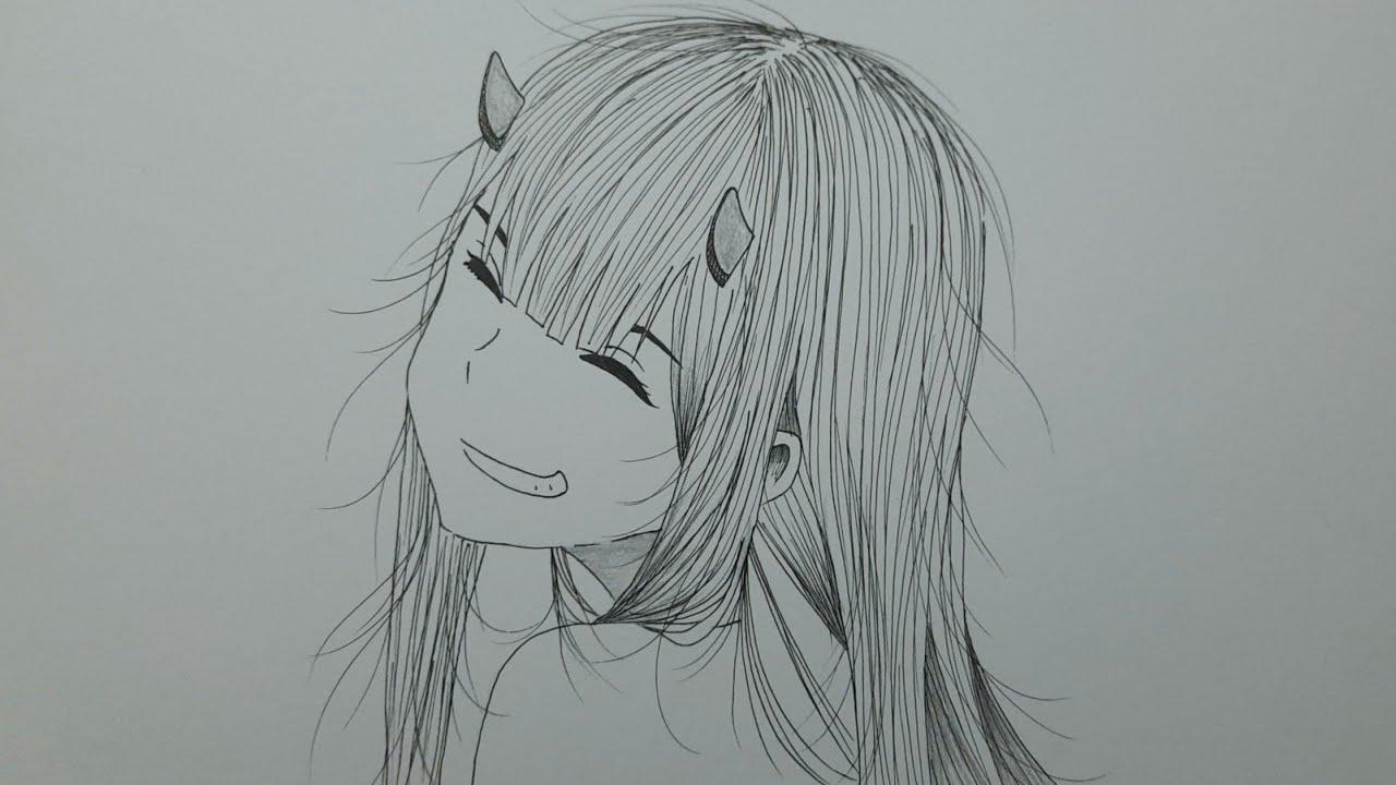 Cara Mudah Menggambar Anime Zero Two Untuk Pemula Youtube