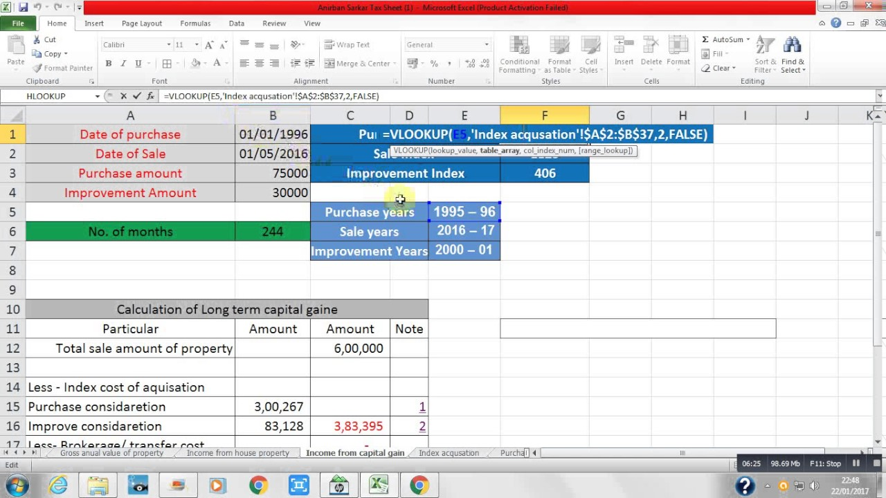 How To Calculate Income From Capital Gain By Using Excel Formula