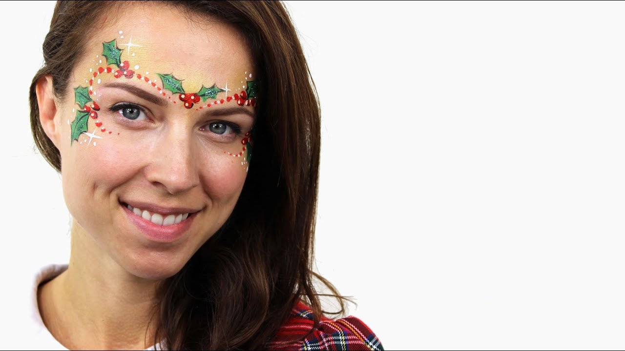 Christmas Face Paint.Christmas Holly Face Paint Tutorial Snazaroo