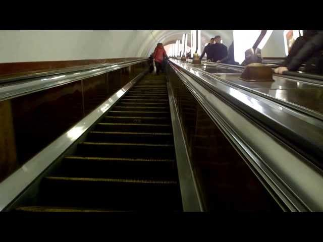 Escalator journey at the worlds deepest metro station