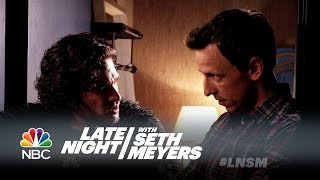 Seth Brings Jon Snow to a Dinner Party - Late Night with Seth Meyers thumbnail