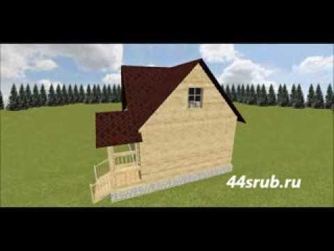3d проект дома из бруса 6х6 Лесовик.