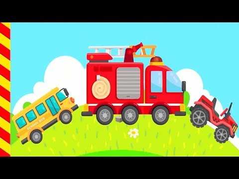 Пожарные машины тушат пожар  мультики про машинки. Красная пожарная машина для для малышей.