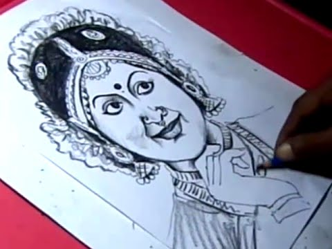 How To Draw Indian Classical Dancer Padma Subrahmanyam Drawing Youtube