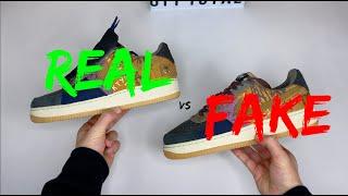 NIKE X TRAVIS SCOTT AIR FORCE 1 COMPARISON REAL VS FAKE