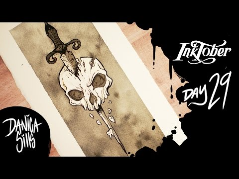 Inktober Day 29 ♦ Skull Dagger! ♦ Lineart and Ink Wash Speedpaint