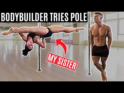BODYBUILDER tries POLE DANCING for the first time...