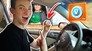 Paying with V-BUCKS at the DRIVE THRU PRANK!! Fortnite: Battle Royale (Making a V-BUCK in REAL LIFE)