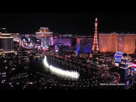 Las Vegas.Bellagio Fountains.Video from balcony Cosmpolitan Hotel.(1080p)HD
