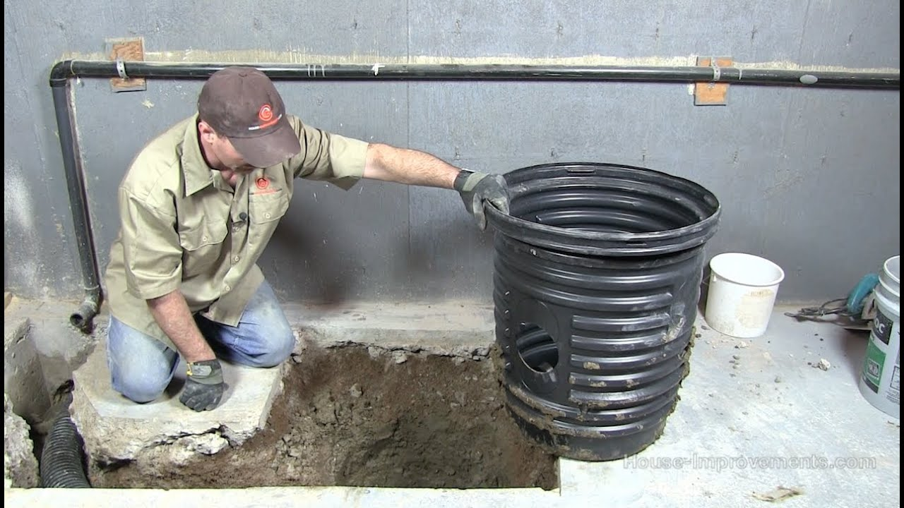 how to install a sump pump pit [ 1280 x 720 Pixel ]
