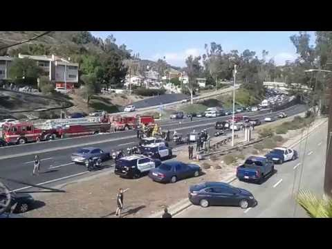 LAPD Police Officer Down on 110 Freeway