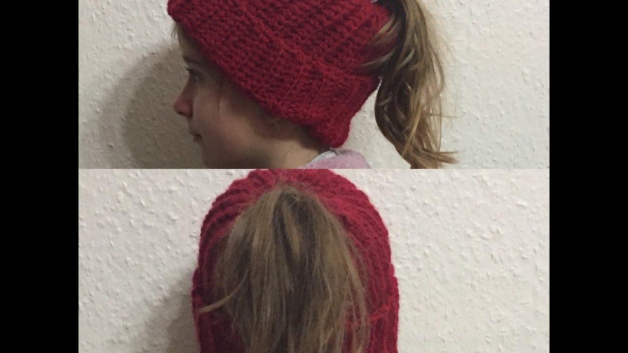 fa8109563e5b6 Tuto bonnet pour queue de cheval au crochet spécial gaucher - YouTube