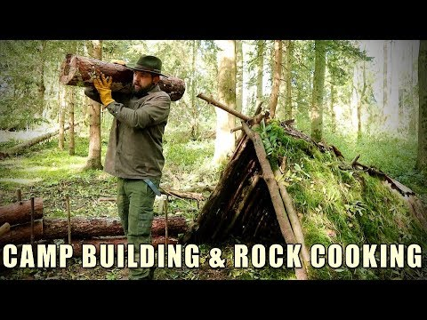 Bushcraft Camp Building & Cooking on a Rock
