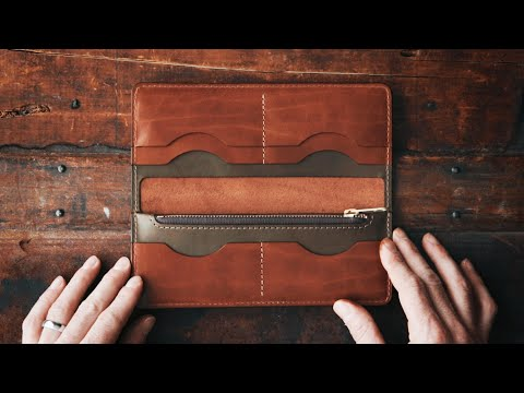 MAKING A HANDMADE LEATHER LONG WALLET - DIY BUILD ALONG + DIGITAL PATTERN - ASMR