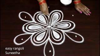 Simple n easy routine muggulu with 5 dots || new rangoli kolam art designs