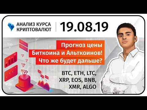 Прогноз Биткоина и Альткоинов! Прогноз криптовалюты BTC ETH LTC XRP EOS BNB XMR ALGO. 19.08.2019.