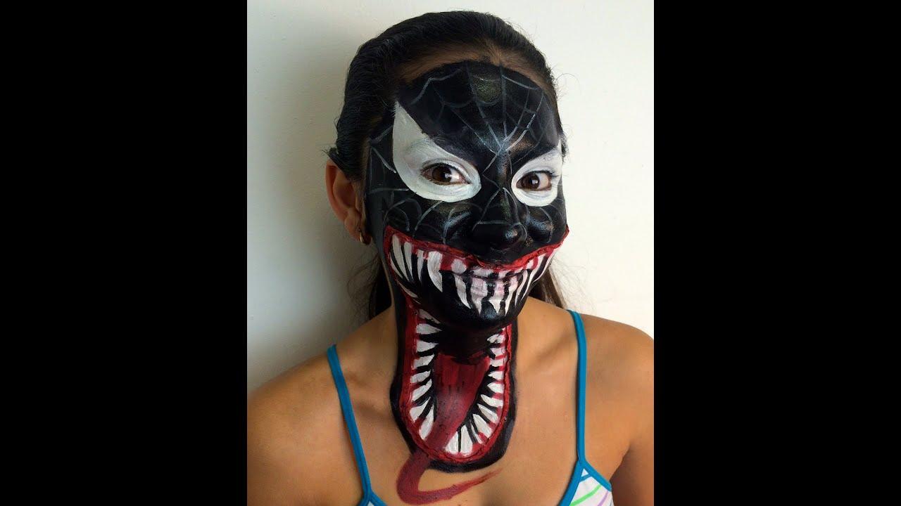 Hombre araña negro en 3D. maquillaje fantasia. \u0026quot;venom\u0026quot;