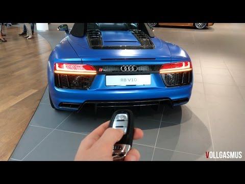 Audi R8 V10 Spyder Matte Blue Audi Exclusive: In Depth, LED Lights, Roof Show and more